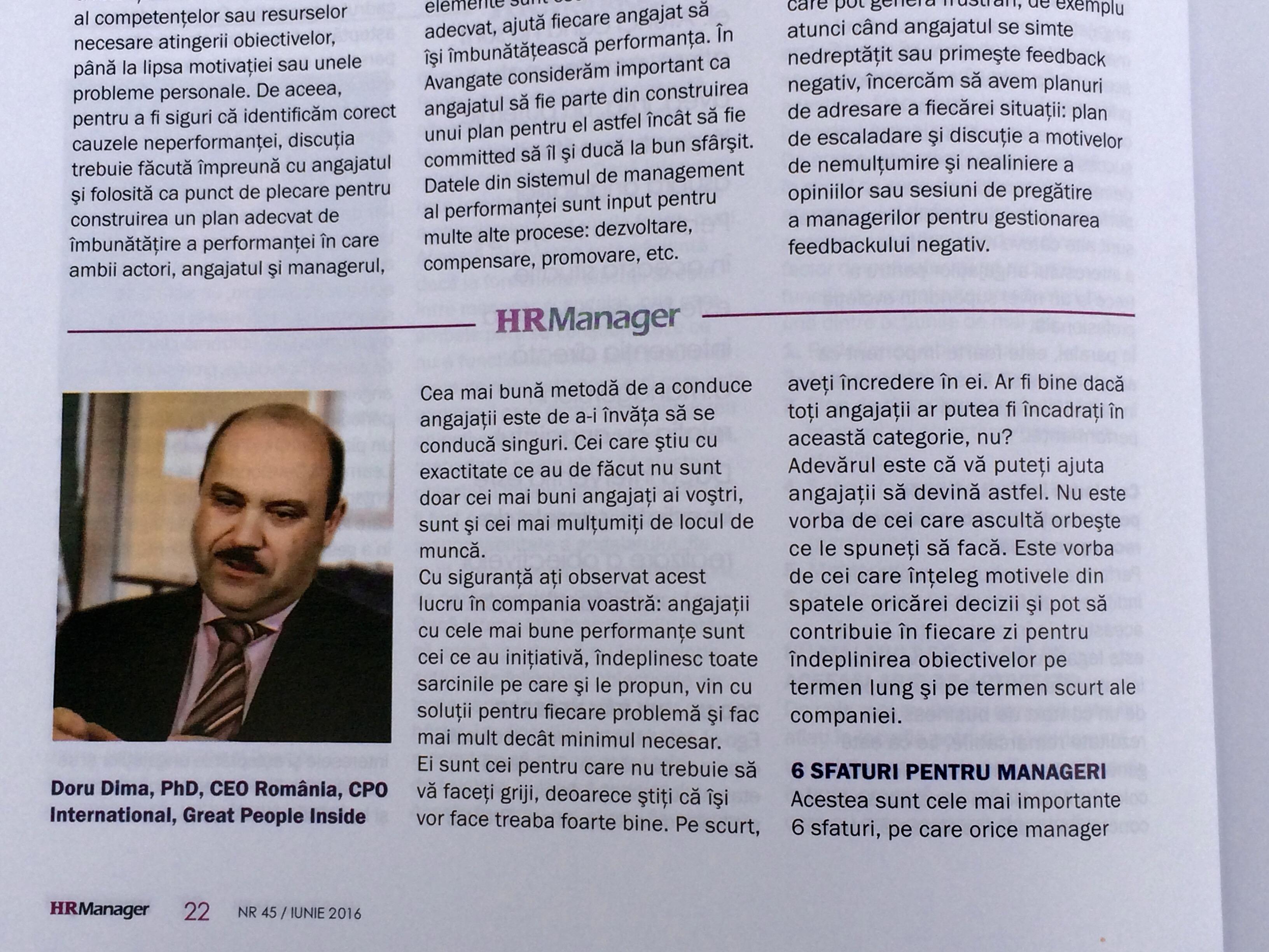 HR Manager Doru Dima Iunie 2016